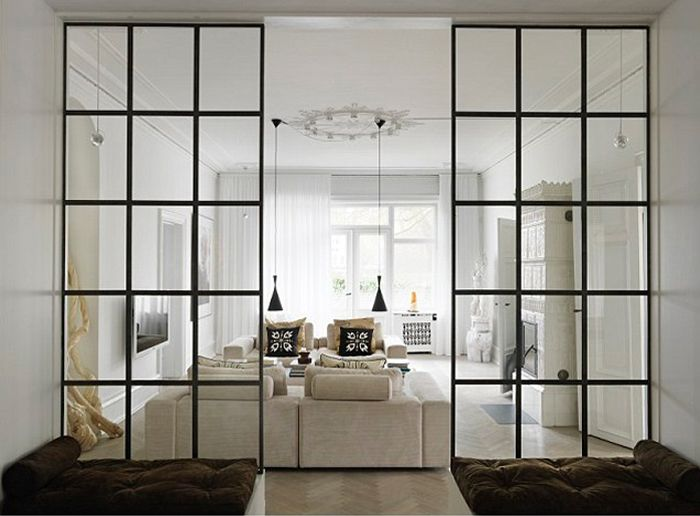 Industrial Steel Windows Go Residential Industrial Living Room
