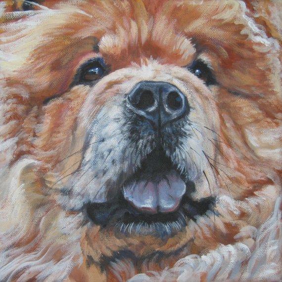 Chow Chow Dog Art Portrait Print Of La Shepard Painting 12x12