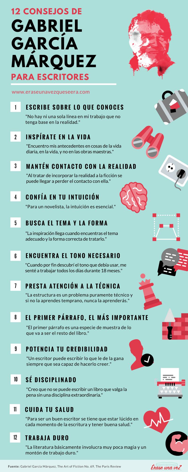 12 consejos de García Márquez para escritores #infografia ...