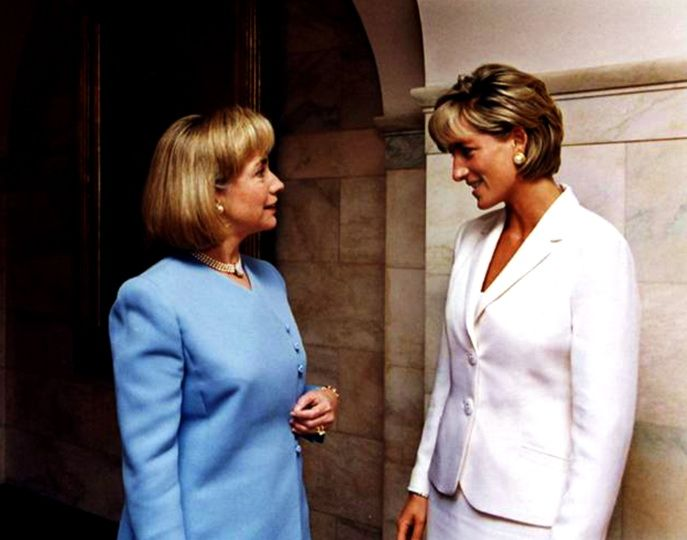 Then-First Lady Hillary Clinton with the late Princess Diana. A wonderful picture.