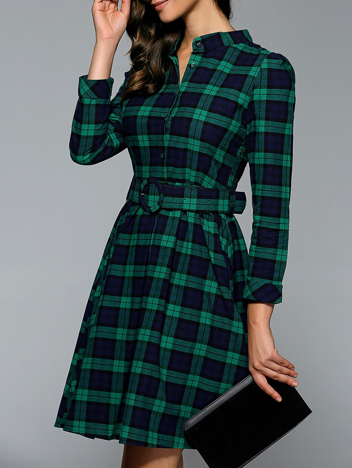 128dbb99dfc Stand Collar Plaid Dress