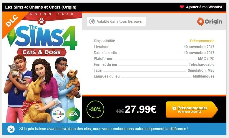 pr commandez les sims 4 chiens et chats seulement sur instant gaming les sims. Black Bedroom Furniture Sets. Home Design Ideas