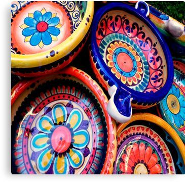 Beautiful and colorful Handcrafted Floral Ceramic Spoon Rest Talavera Folk Art from Mexico Great Gift Painted Plate Mexican Pottery!