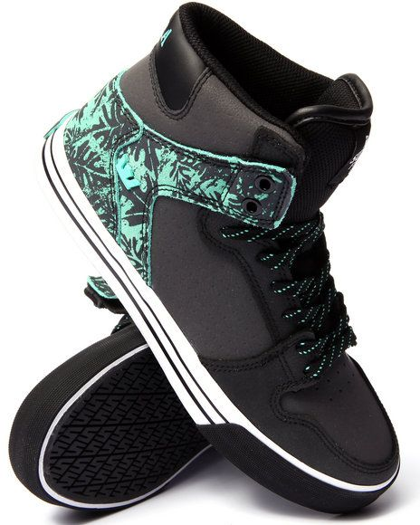 a31926c3ad8c Supra - Vaider Black Leather Mint Suede Sneakers