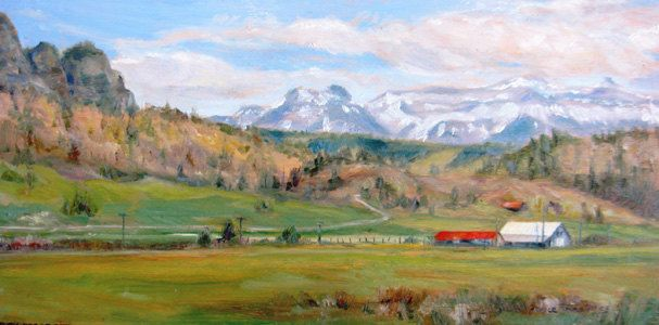 Rocky Mountain landscape original oil painting colorado western art impressionism farm mountains 8 x 16 fine art. $139.00, via Etsy.