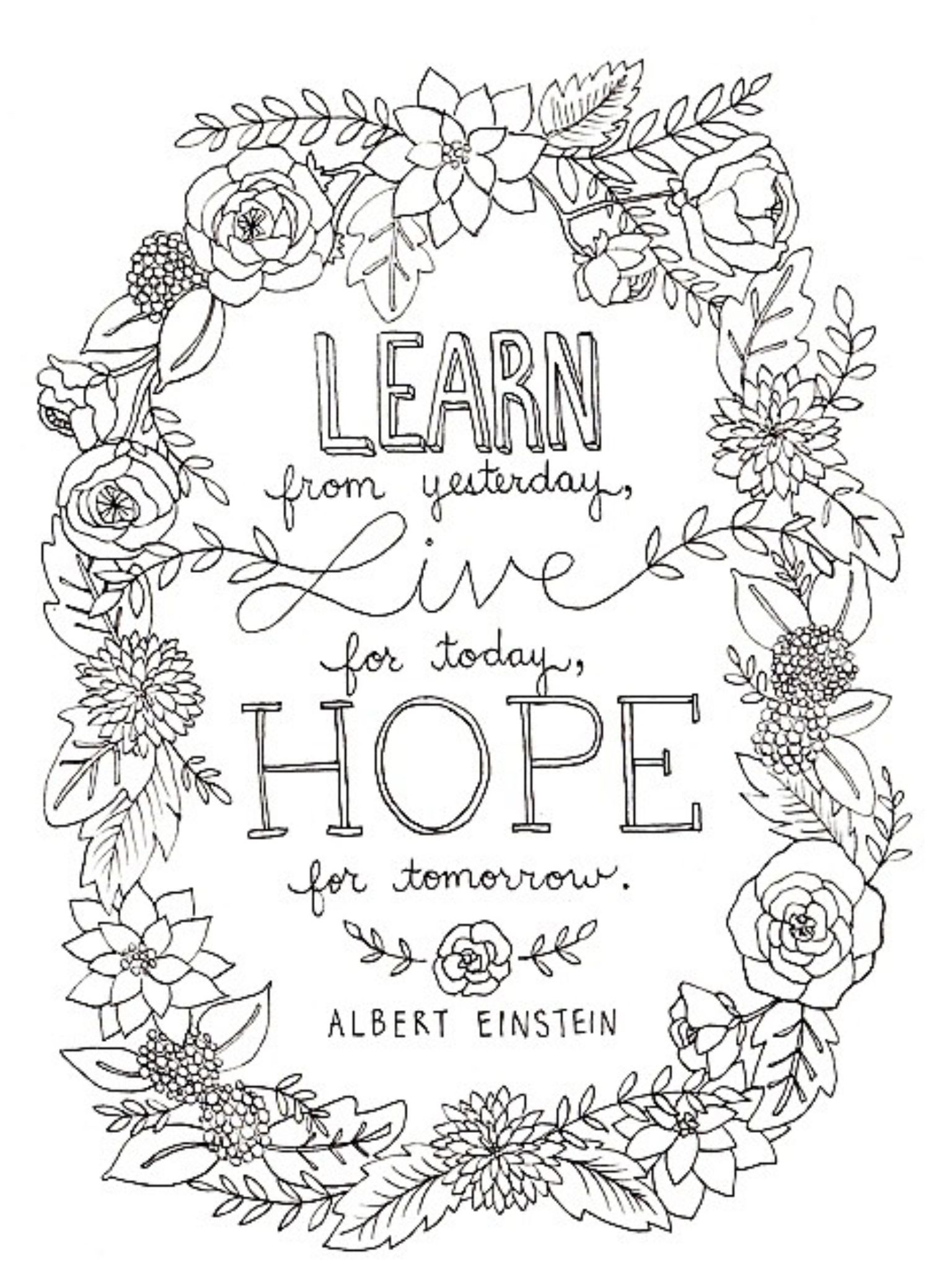 Albert Einstein Quote Quote Coloring Pages Printable Coloring Pages Coloring Pages Inspirational