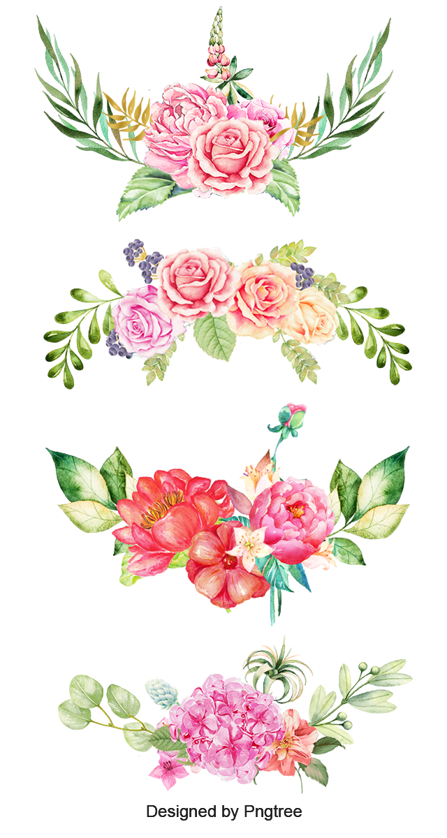 Watercolor Flowers (With images) Flower border png