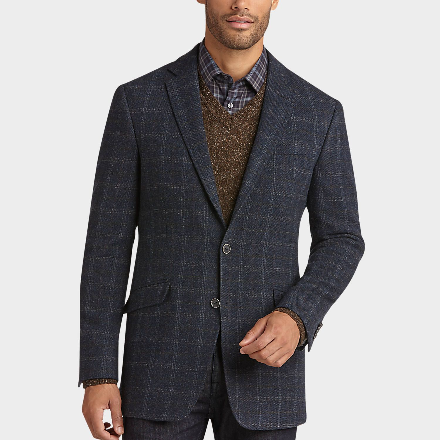 Buy a JOE by Joseph Abboud Blue Plaid Slim Fit Sport Coat and ...
