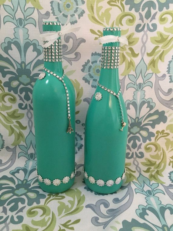Pieza central de la botella de vino boda Manualidades Botellas
