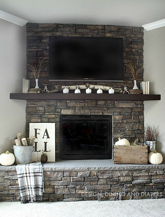 Neutral fall mantel mantels neutral and fireplace mantel Corner fireplace makeover ideas