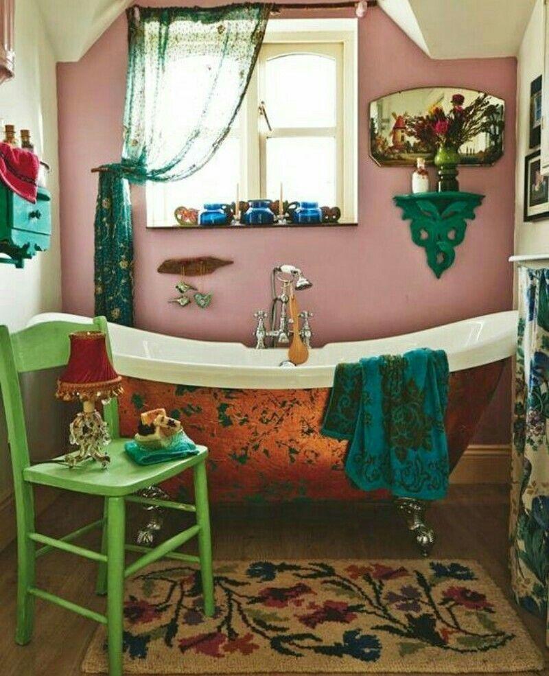 Salle De Bain Japonaise France ~ Salle De Bains Bathroom Boheme Style Mix Eclectic Color Vintage