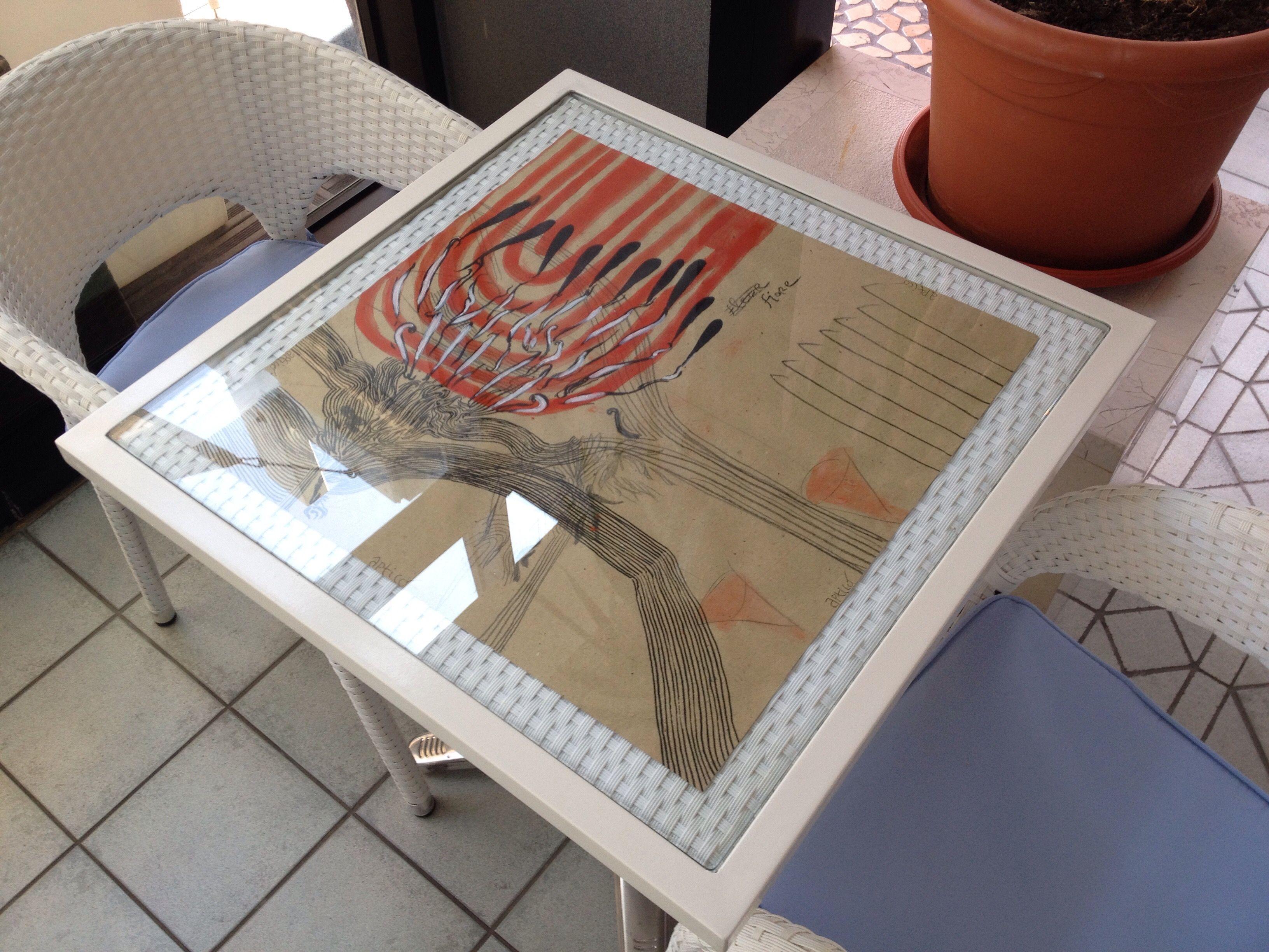 Tavolo Disegno ~ Fiore gian luca proietti mista su carta tavolo vetro