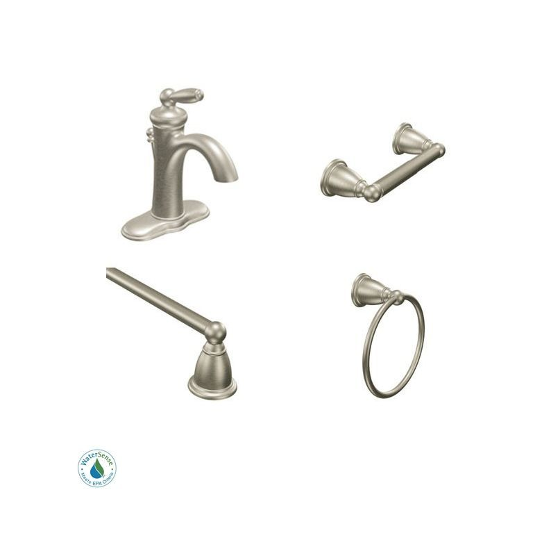 Moen Brantford Faucet and Accessory Bundle 2BN Brushed Nickel with ...