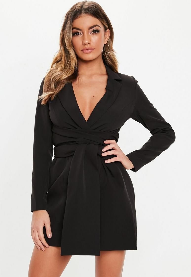 2e482505003 Black Extreme Wrap Belted Blazer Dress