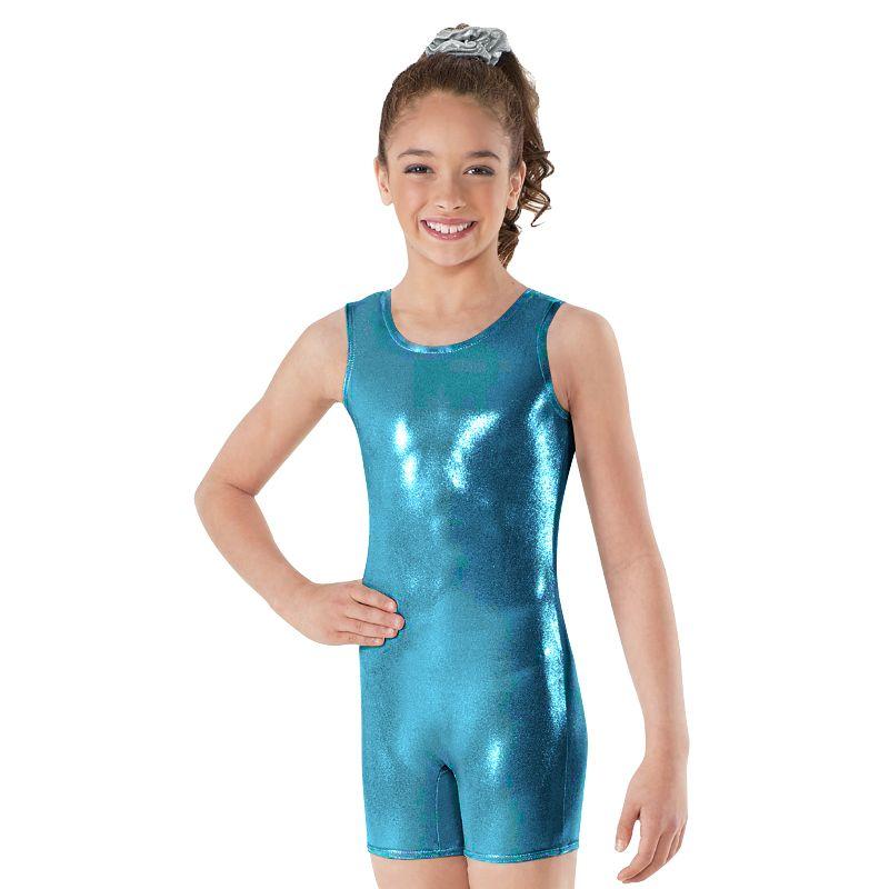 Ensnovo Girls Shiny Suit Ballet Dance Wear Sleeveless