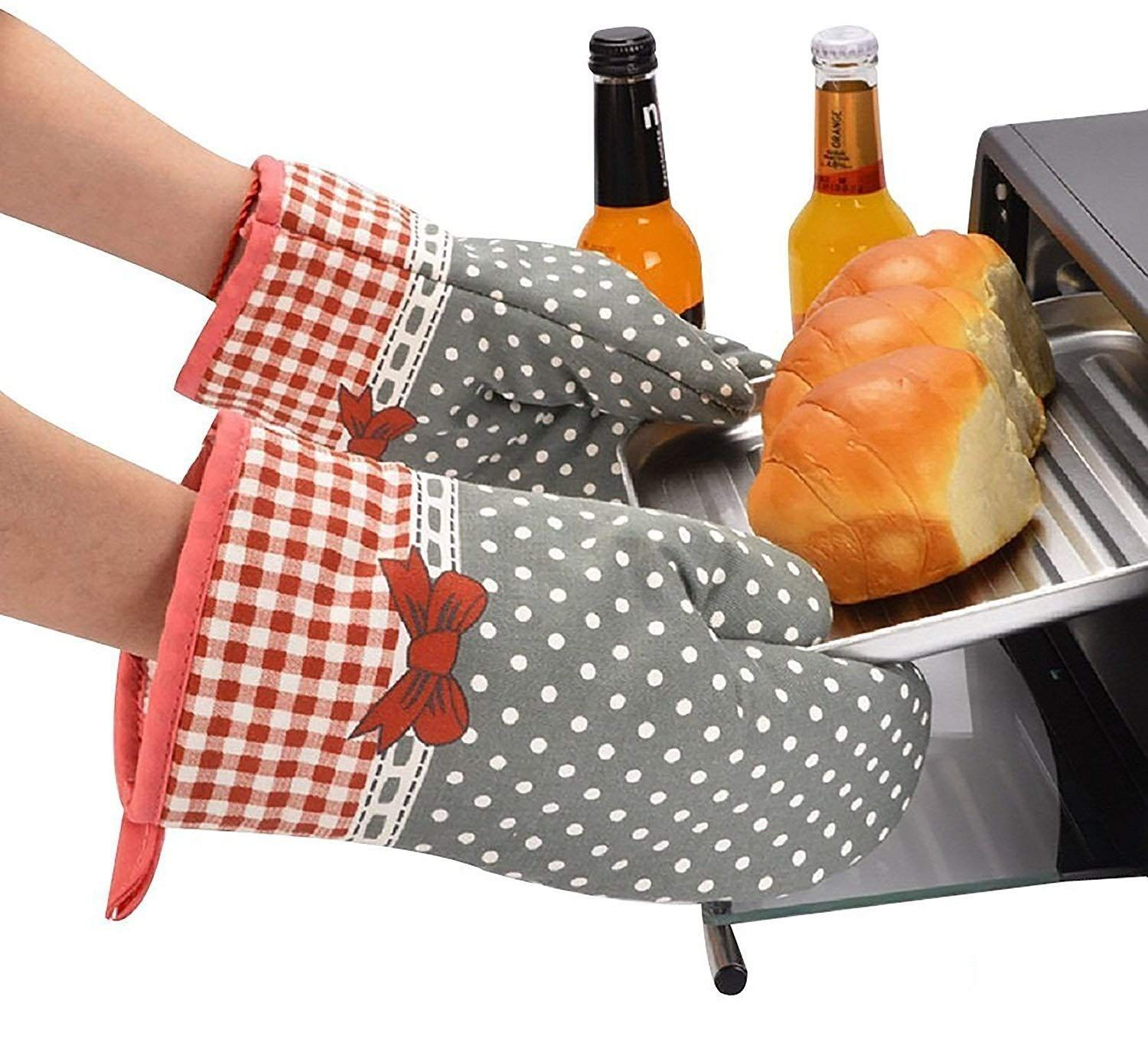 Set Of Two Oven Mitts Heat Resistant Cotton Kitchen Pot Holder