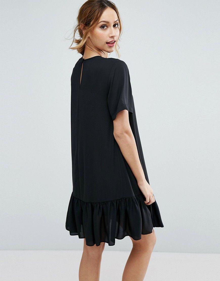 36e085cf17bd3 ASOS Maternity T-Shirt Dress With Ruffle Hem - Black   Style ...