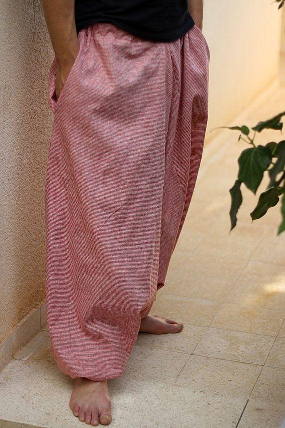 Striped Men's Harem pants with pockets. Drop Crotch Loose