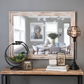 Product Details Distressed White Driftwood Framed Mirror