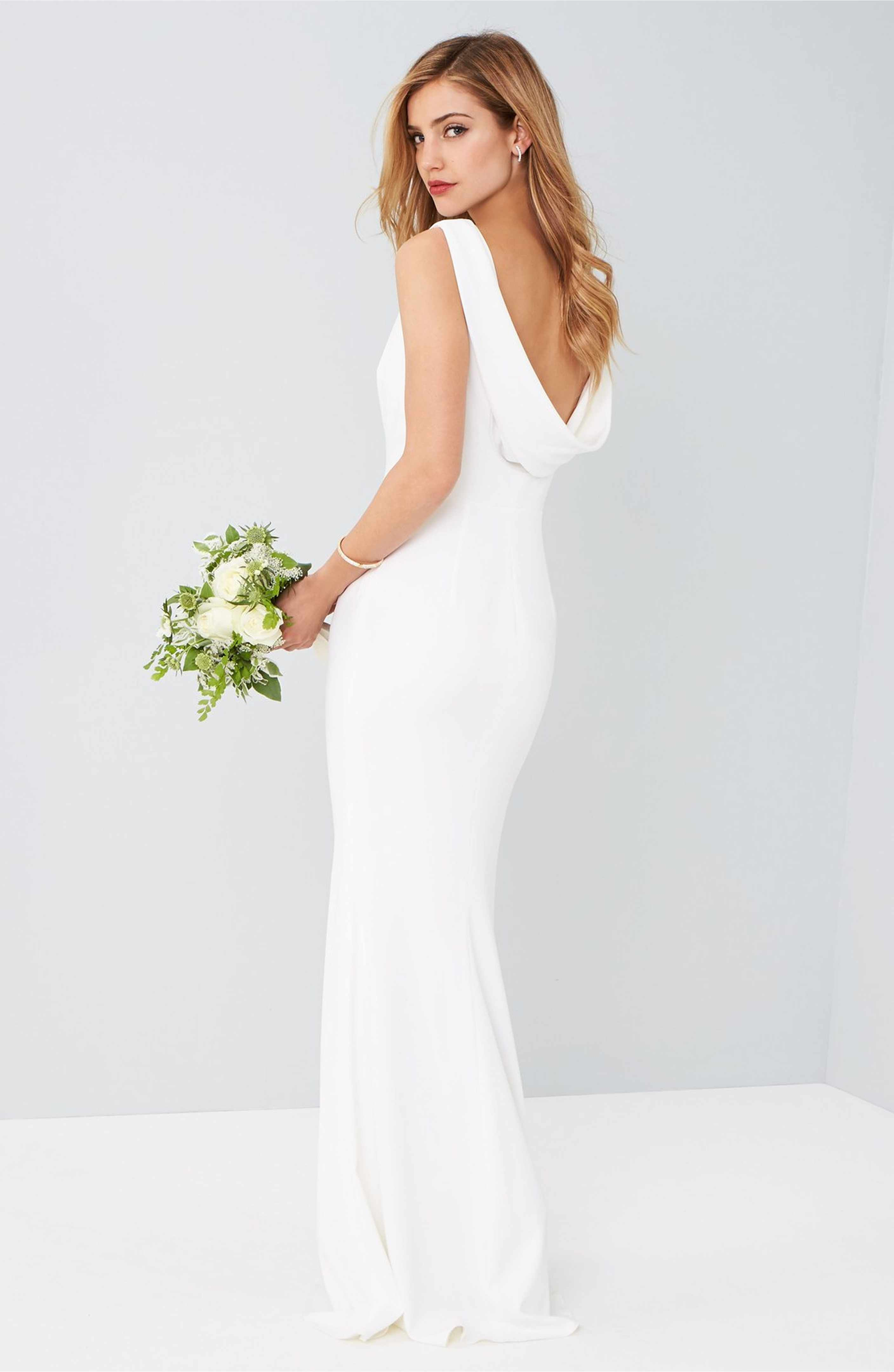 Main Image Katie May Drape Back Crepe Gown Hot Prom Dress Gowns Dresses Wedding Dresses