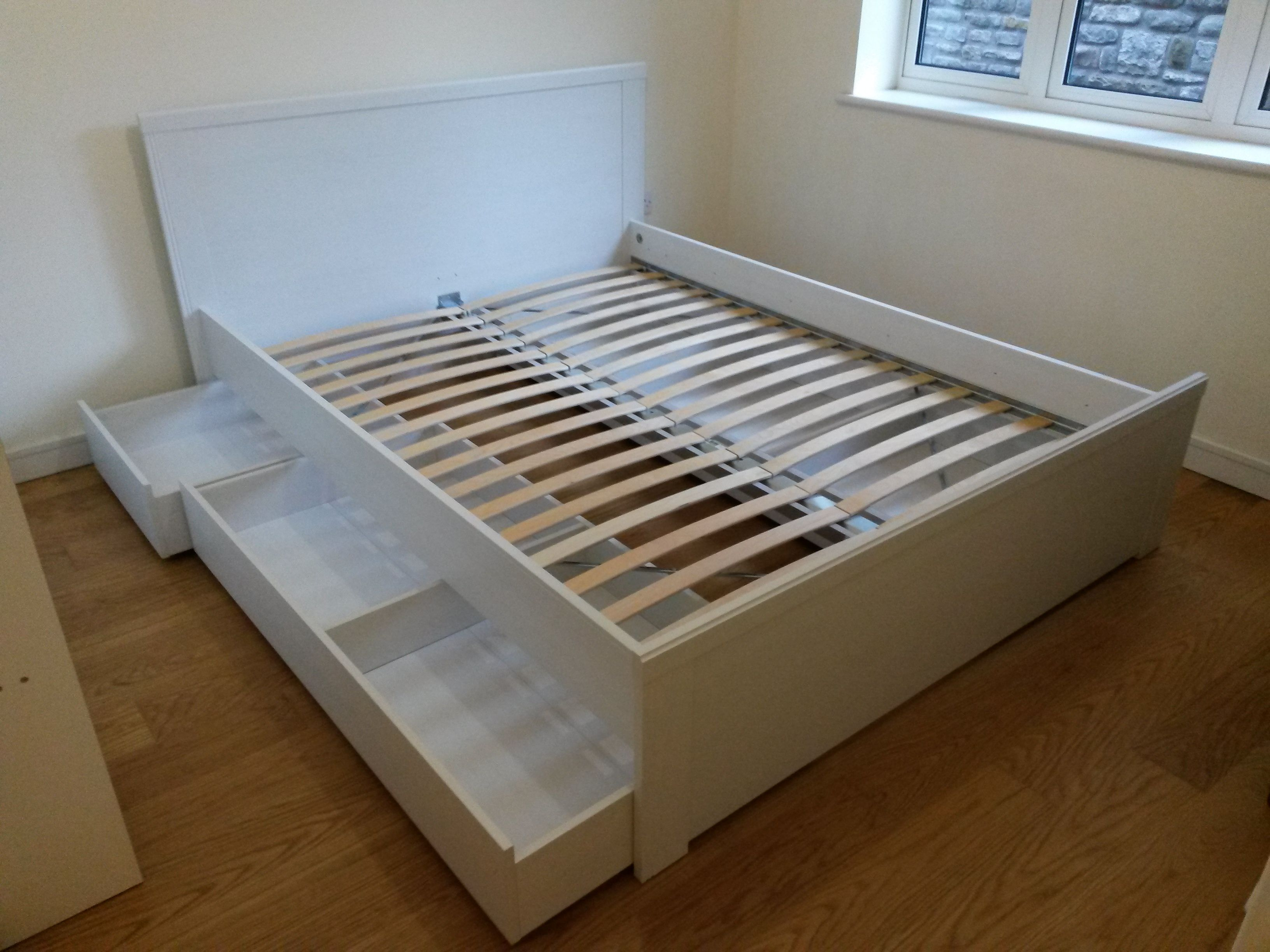 Tweepersoonsbed Frame Ikea Brusali Double Bed With Under Bed Storage Drawers