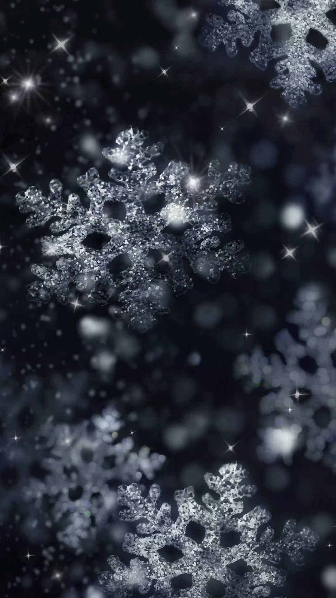 Night Glittering Snowflakes Wallpapers 1080 X 1920