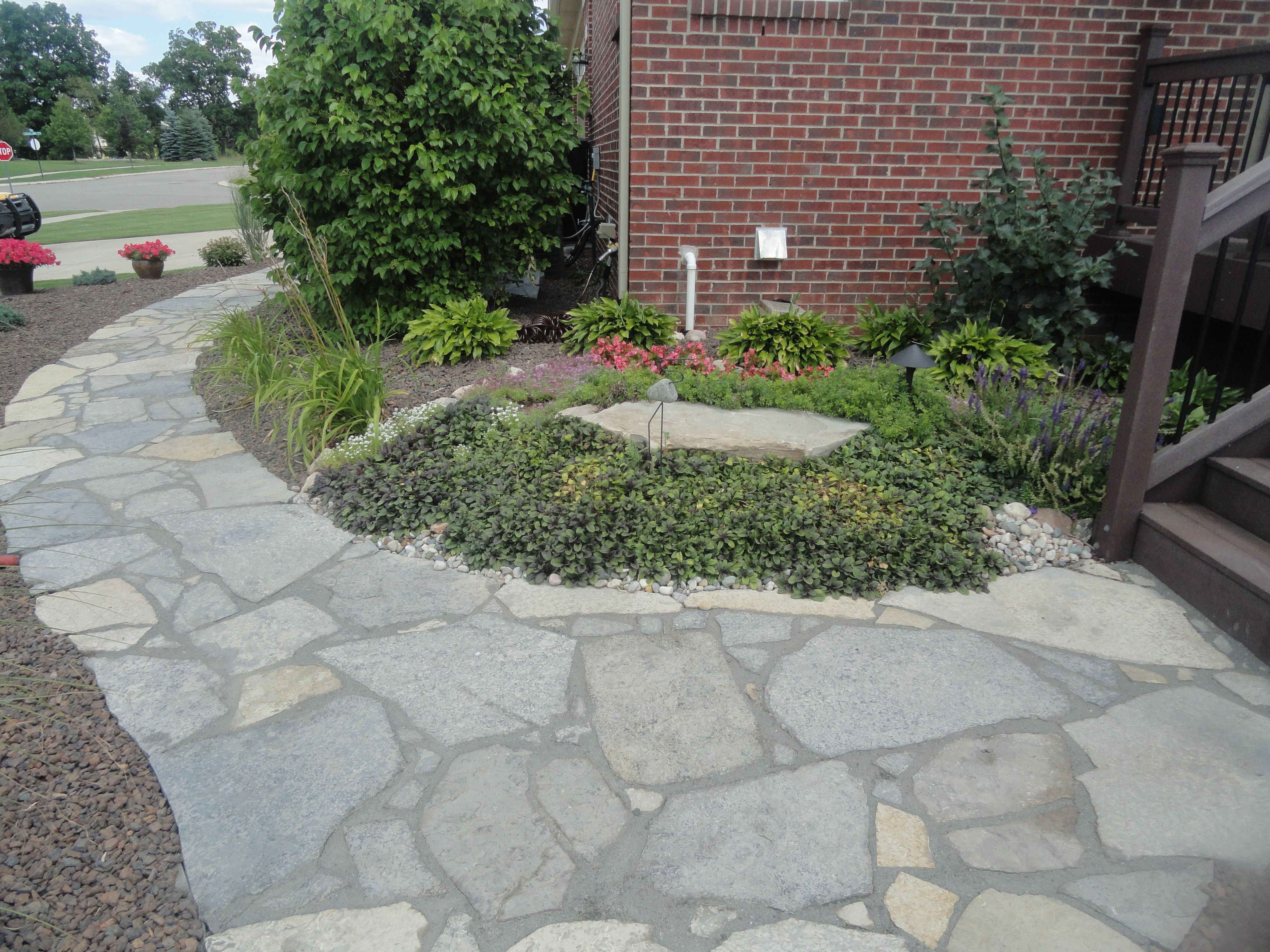 new york blue irregular flagstone walkway design and creation by frank spiker and all natural