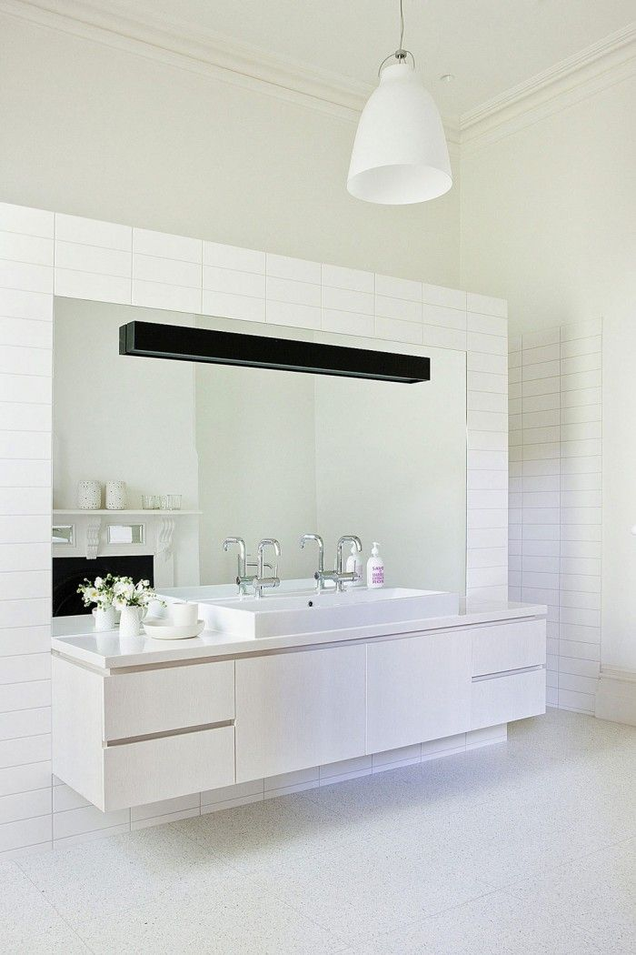 Bathroom Elegant White Floating Vanity With Single A Sink And Lengthwise Mirror In Set