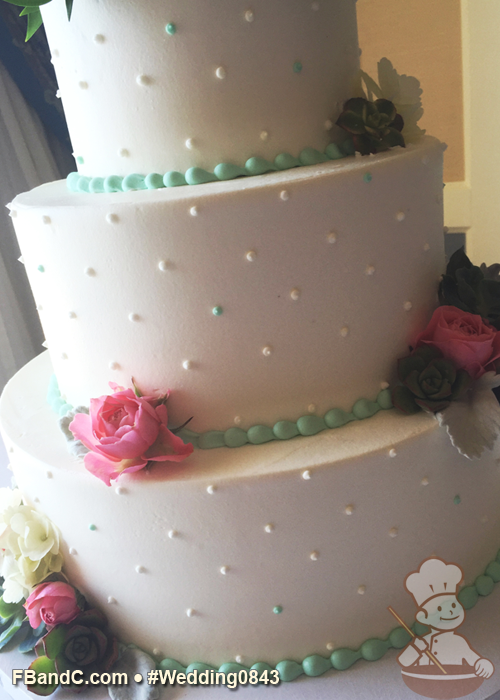 Design W 0843 Butter Cream Wedding Cake 12 9 6 Serves 100 Buttercream Swiss Dots With Touch Of Color Wedding Cakes Wedding Cake Bakers Dessert Favor