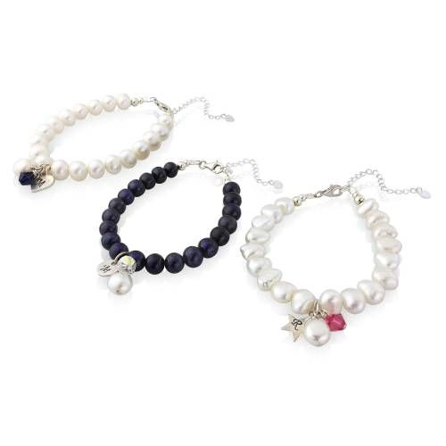personalised pearl and silver disc bracelet with birthstone crystal