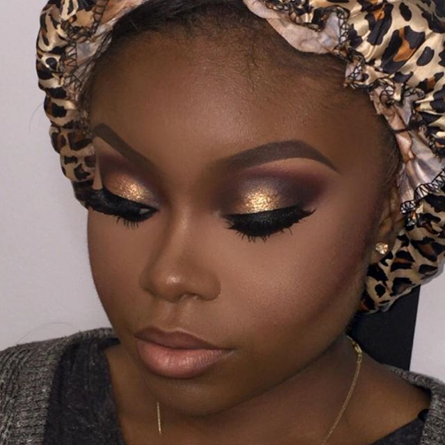 Image result for black girl with gold eyeshadow