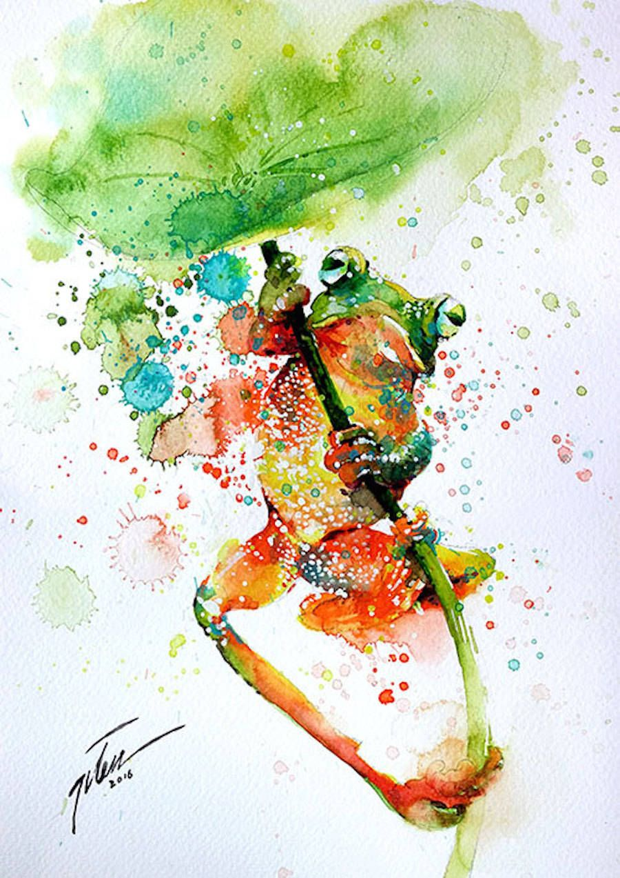 Colorful Splashed Watercolor Animals Paintings Watercolor