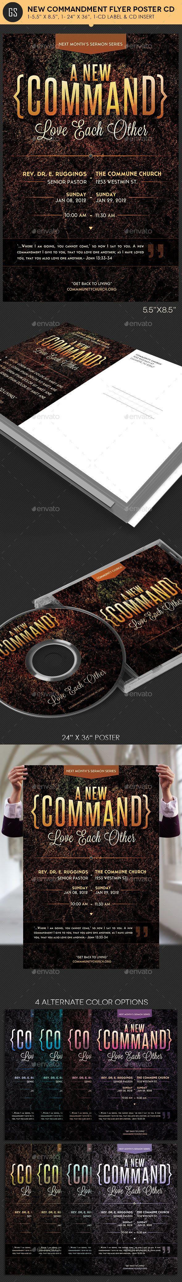 New Commandment Flyer Poster CD Template | Cd etiketten, Audio ...