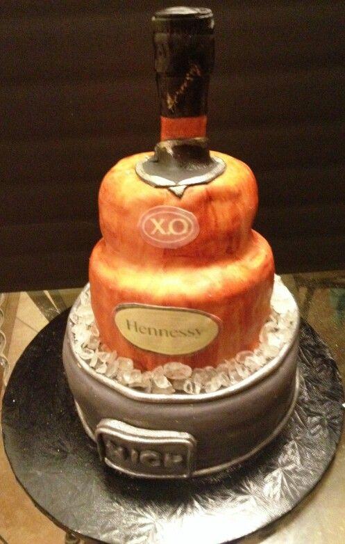 Hennessy XO Cake 40 Layer Bottle Cake 40 Layer Bucket Cake Ice Simple Liquor Bottle Cake Decorations