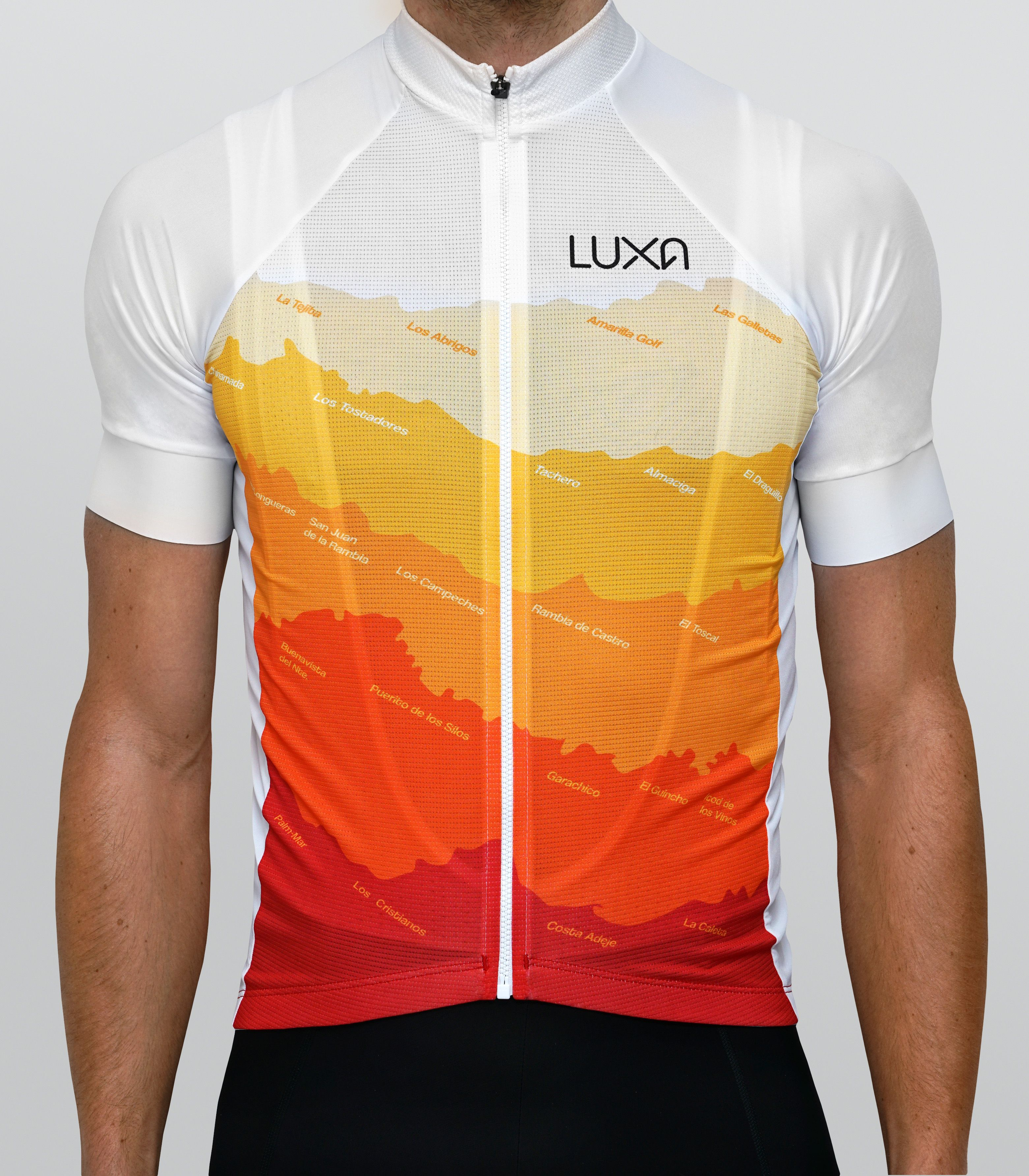 763397665 Tenerife cycling jersey by Luxa. Inspired by a sunny Tenerife colours. Real  coastline with name of towns in design.