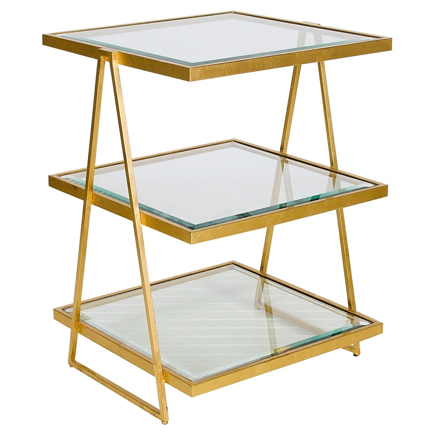 3 Tier With Beveled Glass Shelves Choice Of Gold Leaf Or Nickel Plated Square Side Table Gold Side Table Floating Glass Shelves