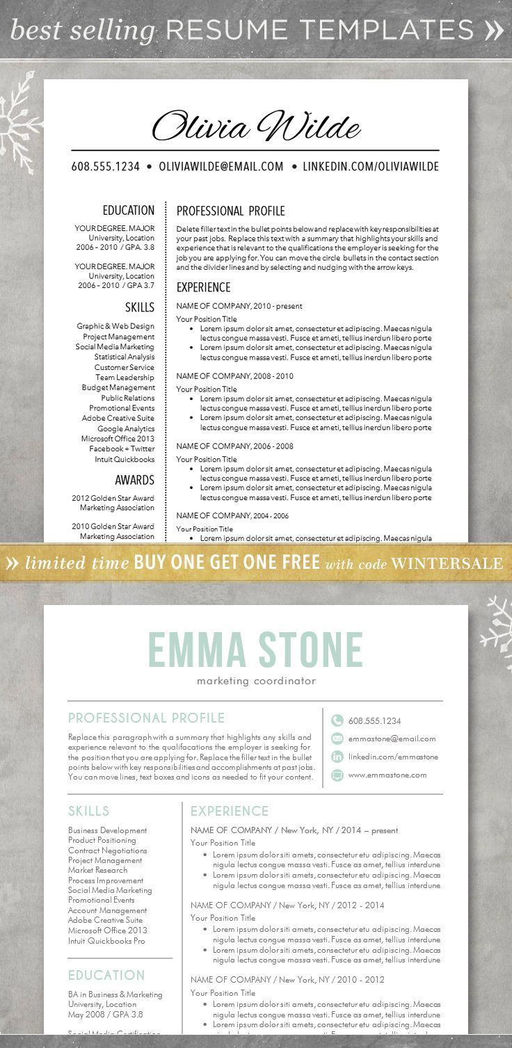 Professional College Resume Classy Resume Template  Cv Template For Wordcreative Customizable Free .