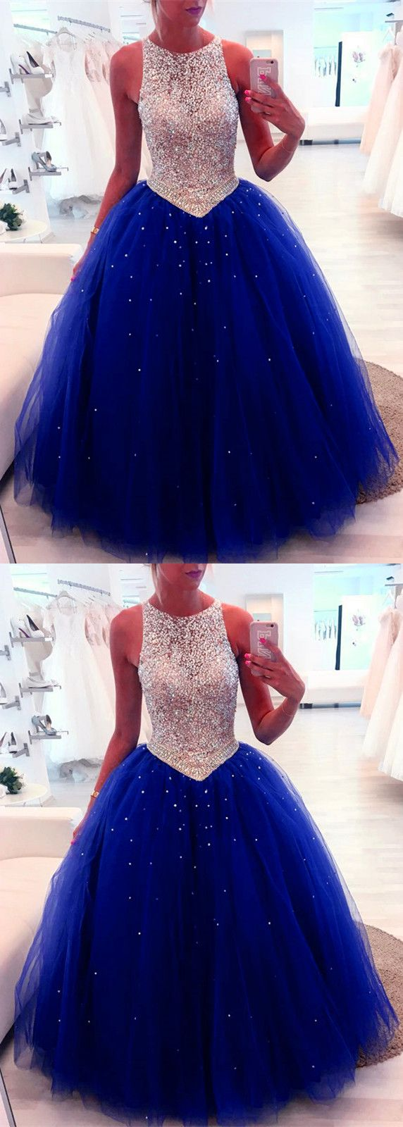 Stunning sequins beaded keyhole back tulle ball gowns quinceanera