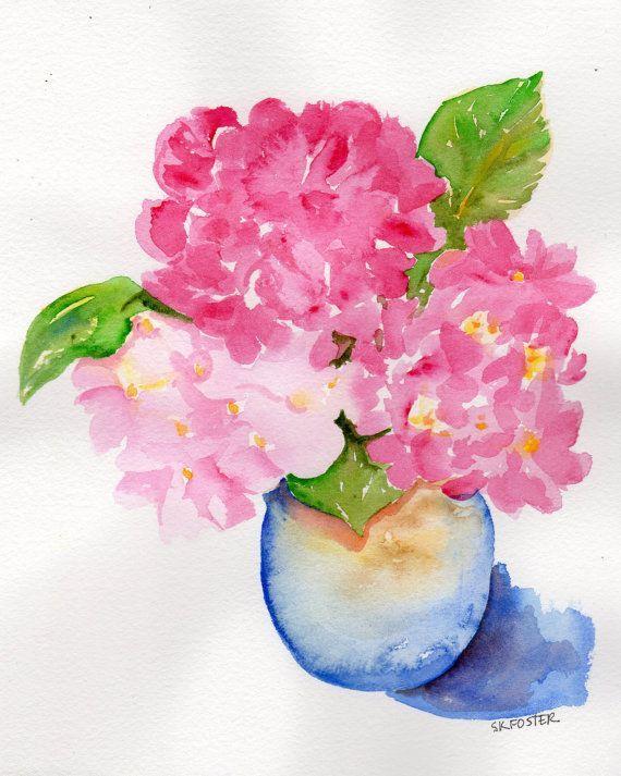 Pink hydrangeas Painting, 8 x 10, original watercolor