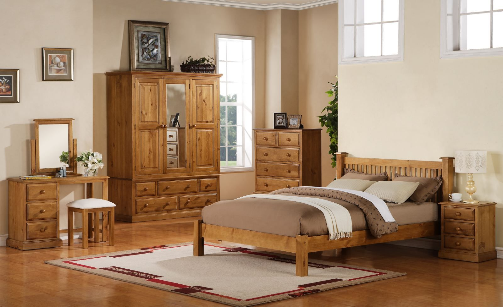 Elegant Bedroom Interior Design With Wooden Furniture Set Also ...