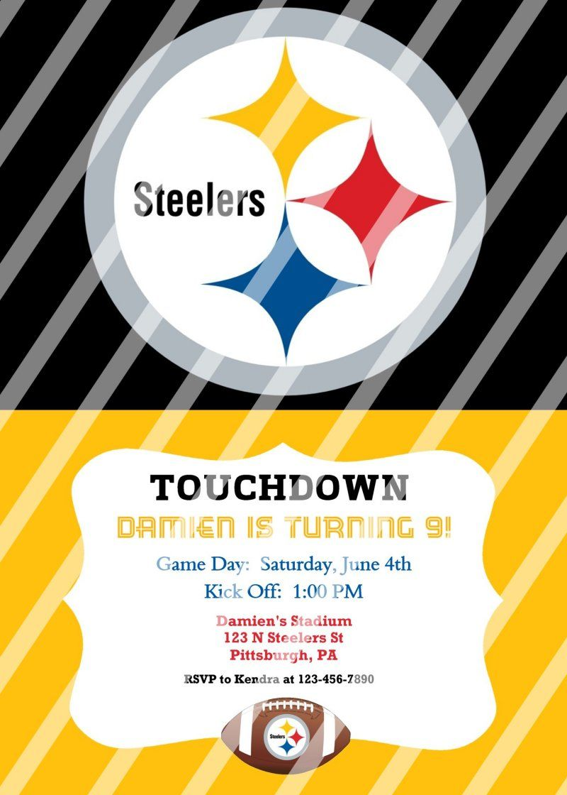 Pittsburgh Steelers Personalized Party Invitation #47 (digital file ...