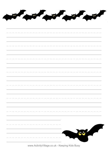 lined bat template Halloween writing paper - bats - Halloween - free lined handwriting paper