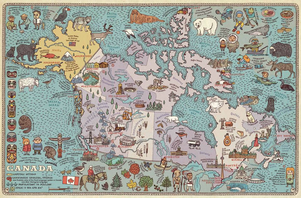 illustrated map of canada from maps by aleksandra daniel
