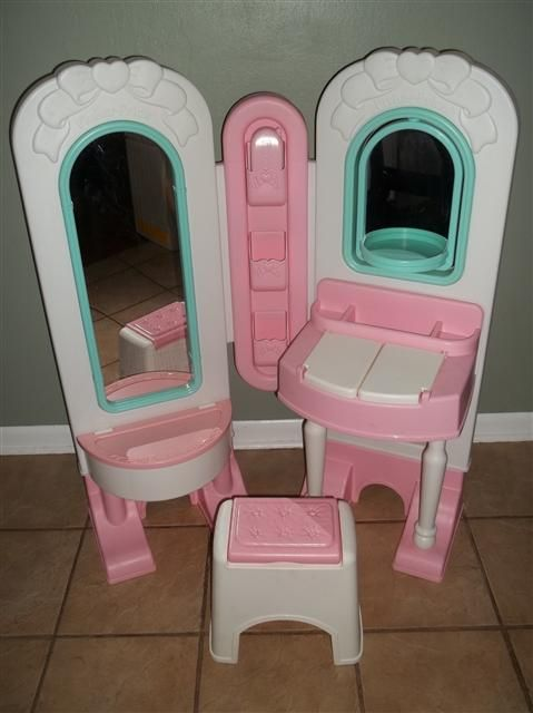 fisher price all in one dress up vanity play set for little girls the vanity is a large pink. Black Bedroom Furniture Sets. Home Design Ideas