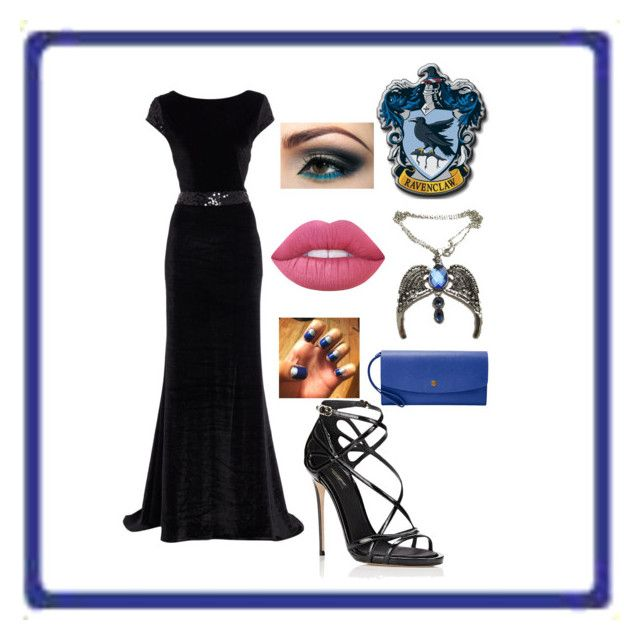 """""""Ravenclaw Prom"""" by whitecocoa1999 ❤ liked on Polyvore featuring Dolce&Gabbana, FOSSIL and Lime Crime"""