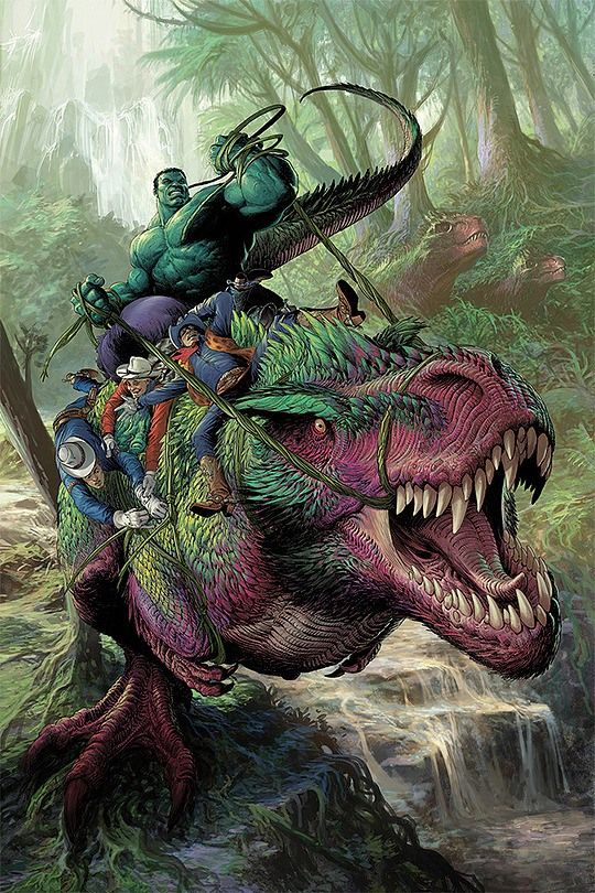 d969f8c011f It s The Hulk riding a dinosaur with cowboys. Your arguement is invalid.