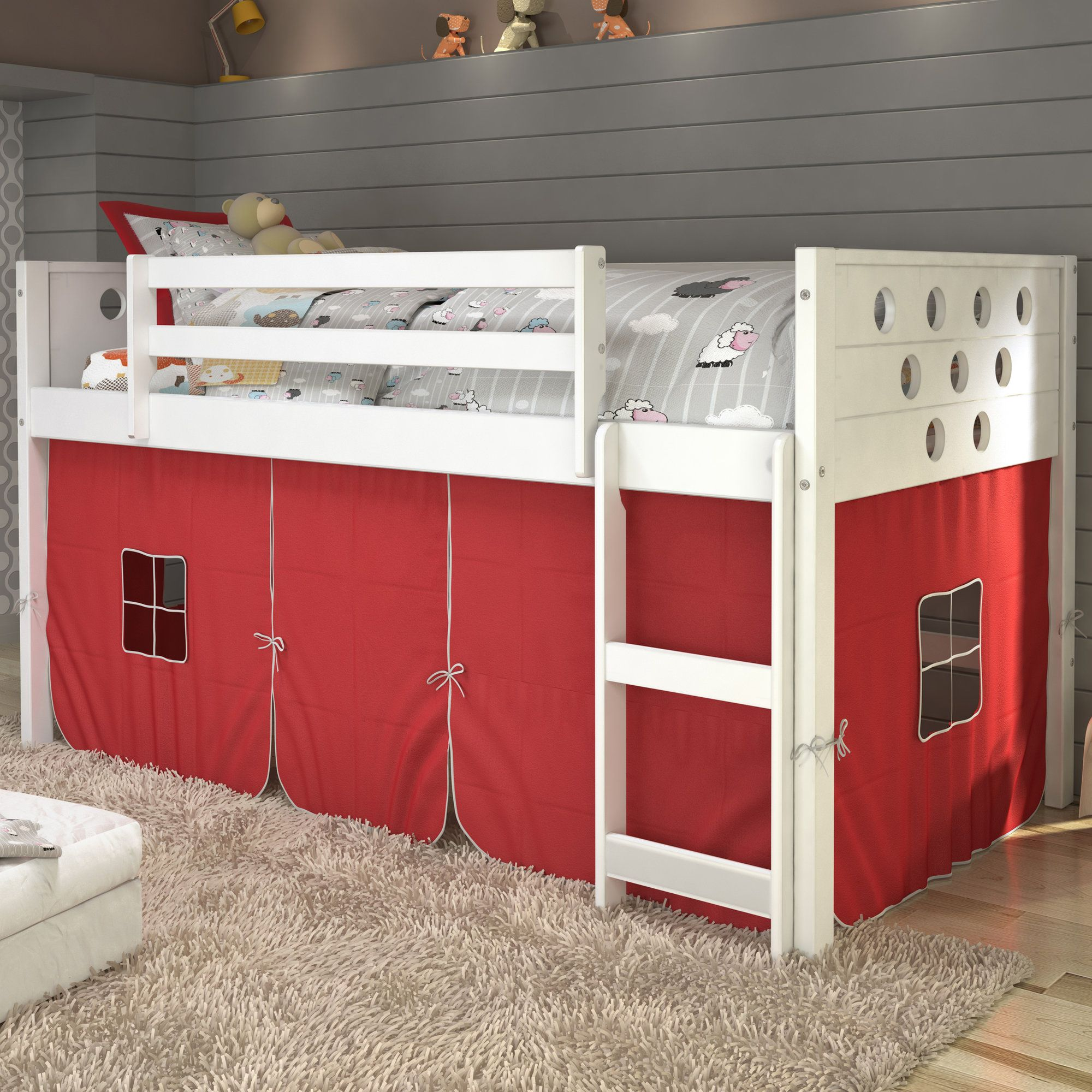 Wooden loft bed with slide  Catherine Circles Twin Loft Bed  Products  Pinterest  Products