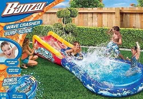 Banzai 18593 Wave Crasher Surf Slide 13 Feet Length Or 396cm Pool Slide Bonus Bodyboard For Age 512 You Can Find Out More Deta Pool Water Slide Pool Surfing