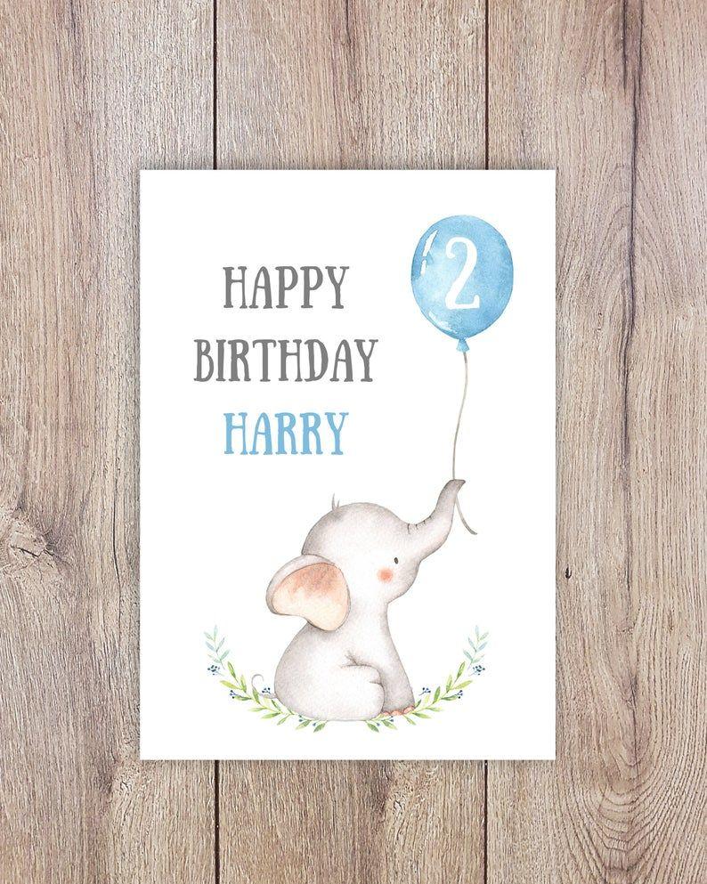Personalised Children S Birthday Card Elephant Birthday Etsy Birthday Card Drawing Watercolor Birthday Cards 1st Birthday Cards