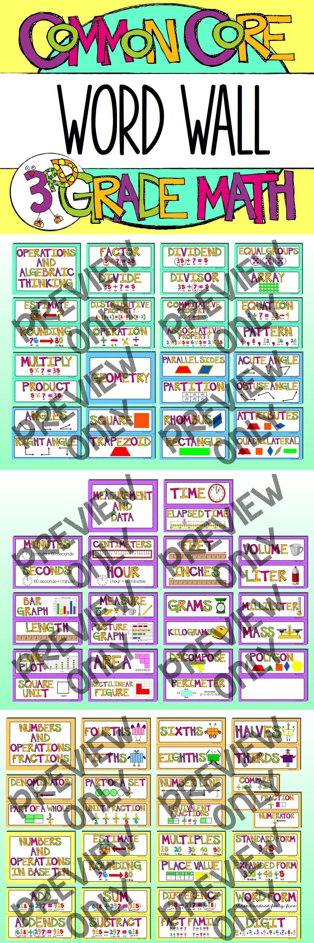 3rd Grade Common Core Math Vocabulary